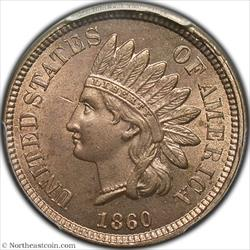 1860 Pointed Bust Indian Cent PCGS MS64