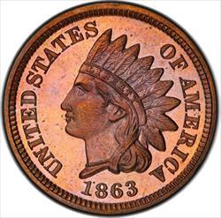 1863 Indian Cent PCGS PR66