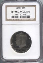 1987-S Kennedy Half Dollar NGC PF70UCAM