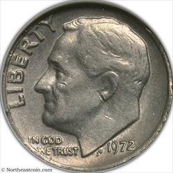 1972-D Roosevelt Dime Clamshell Mint Error ANACS Net EF45