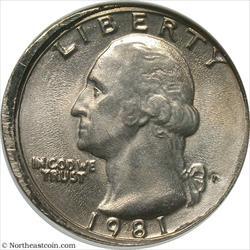 1981-P Washington Quarter Misaligned Dies Mint Error ANACS MS61