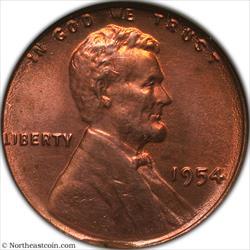 1954 Lincoln Cent Struck on Defective Planchet Mint Error ANACS MS60 details