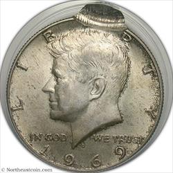 1969-D Kennedy Half Double Struck 95% Off Center Mint Error ANACS AU58