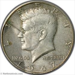 1967 Kennedy Half Dollar Clamshell Lamination Mint Error ANACS AU55