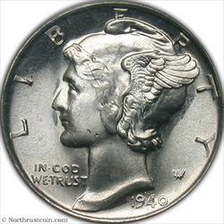 1940-S Mercury Dime Rev Rim Cud @ 2:30 Mint Error PCGS MS66