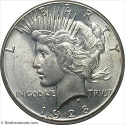 1928 Peace Dollar Minor Obverse Planchet Lamination Mint Error PCGS MS63