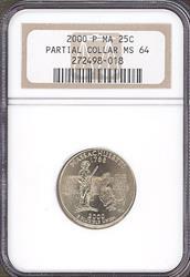 2000 Massachusetts 25c Partial Collar Mint Error NGC MS64
