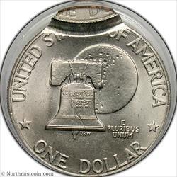 1976-D Ike Dollar Type 2 Double Struck & Off Center Mint Error PCGS MS63
