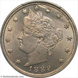 1889 Liberty Nickel Lamination Planchet Mint Error PCGS MS64