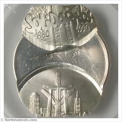1990 Poland 100,000 Zlotych Double Struck Off Center Mint Error PCGS MS64