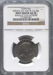 1979-P Susan B Anthony Dollar Struck on 25c Planchet Mint Error NGC AU58