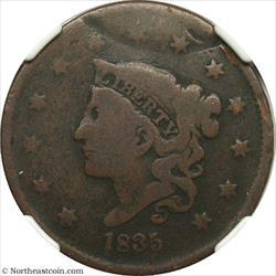 1835 Large Cent Double Struck Mint Error NGC G6