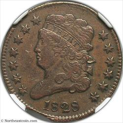 1828 Half Cent Curved Clip @ 7:00 Mint Error NGC XF40