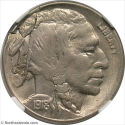 1918-S Buffalo Nickel Obverse Lamination Mint Error NGC MS62