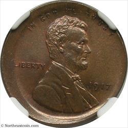1917 Lincoln Cent Broadstruck Mint Error NGC MS64BN