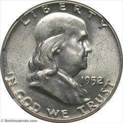1952 Franklin Half Curved Clip @ 9:00 Mint Error NGC AU58