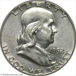 1952 Franklin Half Curved Clip @ 12:00 Mint Error NGC AU53