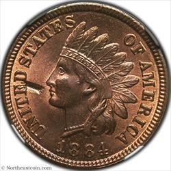 1884 Indian Cent Obverse Struck Thru Mint Error NGC MS64RB