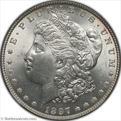1897 Obverse Struck Thru Mint Error NGC MS64