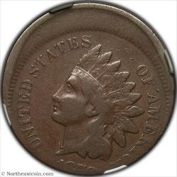 1878 Indian Cent Struck 15% Off Center Mint Error NGC F12