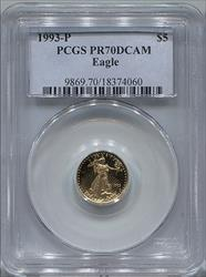 1993-P $5 Modern Gold Eagle PCGS PR70DCAM