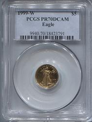 1999-W $5 Modern Gold Eagle PCGS PR70DCAM
