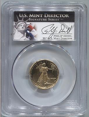 1990-P $10 Philip Diehl Signature Modern Gold Eagle PCGS PR69DCAM