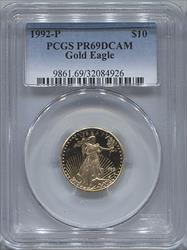 1992-P $10 Modern Gold Eagle PCGS PR69DCAM