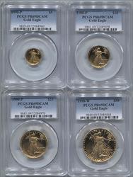 1990-P 4 Coin Set Modern Gold Eagle PCGS PR69DCAM