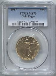1987 $25 Modern Gold Eagle PCGS MS70