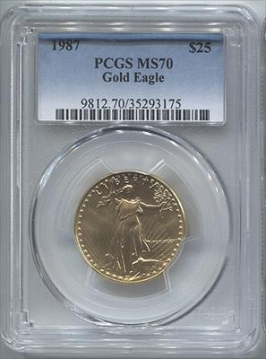 1987 $25 Modern Gold Eagle PCGS MS70