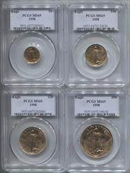 1998 4 Coin Set Modern Gold Eagle PCGS MS69