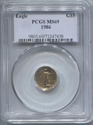 1986 $5 Modern Gold Eagle PCGS MS69