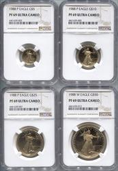 1988 4-Coin Set Modern Gold Eagle NGC PF69UCAM
