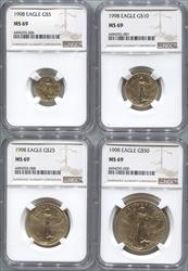 1998 4 Coin Set Modern Gold Eagle NGC MS69