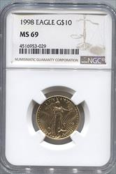 1998 $10 Modern Gold Eagle NGC MS69