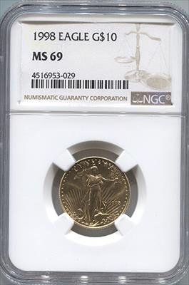1998 $10 Modern Gold Eagle NGC MS69
