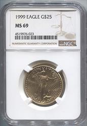 1999 $25 Modern Gold Eagle NGC MS69