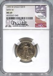 1999-W $10 With W   Signature issue Modern Gold Eagle NGC MS69
