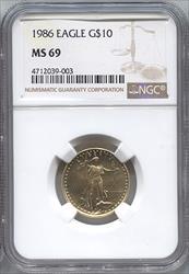 1986 $10 Modern Gold Eagle NGC MS69