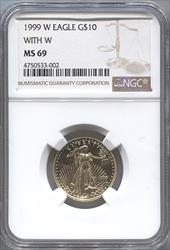 1999-W $10 With W Modern Gold Eagle NGC MS69