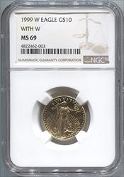 1999 $10 With W Modern Gold Eagle NGC MS69