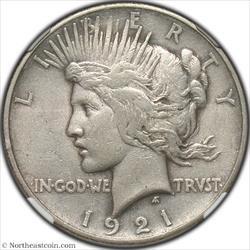 1921 High Relief Peace Dollar NGC AU50