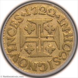 1722 Gold 400 Reis Portugal PCGS VF35