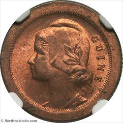 1933 5 Centavos Portugese Guinea NGC MS63RB