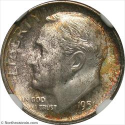 1951-S Roosevelt Dime NGC MS67