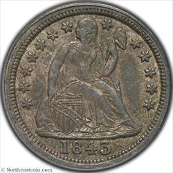 1843 Seated Dime PCGS AU58