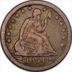 1854-O Huge O Seated Quarter PCGS VF20