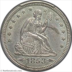 1853 Arrows and Rays Seated Quarter PCGS AU58