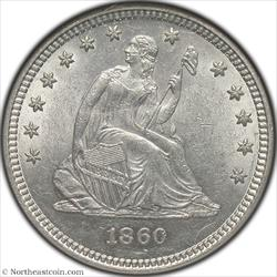1860 Seated Quarter NGC MS60
